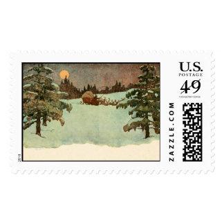 Old time Santa in the snow. Stamp