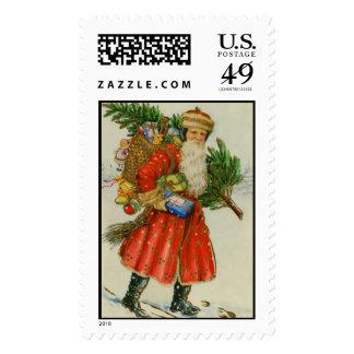 Old time Santa in the snow. Postage