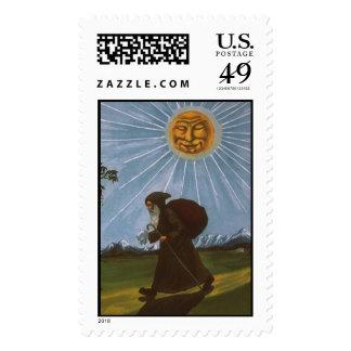 Old time Santa with moonbeam Postage Stamp
