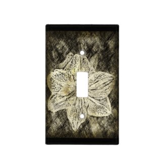 Old Time Sketched Amaryllis on Black Switch Plate Cover