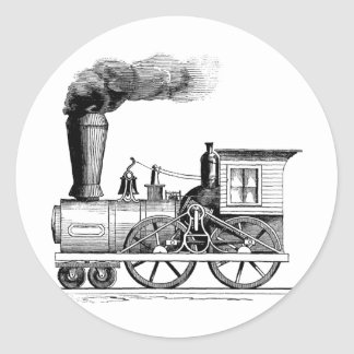 Old Time Steam Locomotive Classic Round Sticker