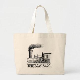 Old Time Steam Locomotive Large Tote Bag