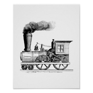 Old Time Steam Locomotive Poster