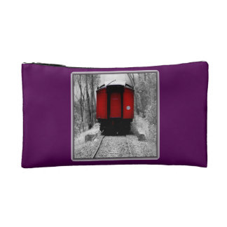 Old Time Steam Train Red and Black Makeup Bag