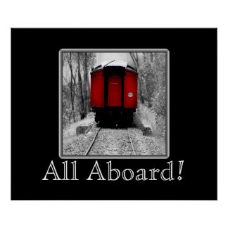 Old Time Steam Train Red and Black Poster