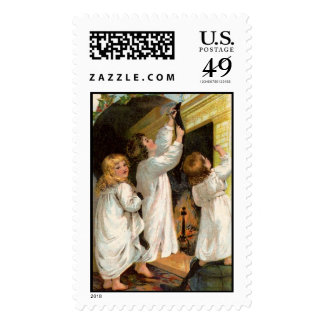 Old time Stocking Hanging on Christmas Eve Postage
