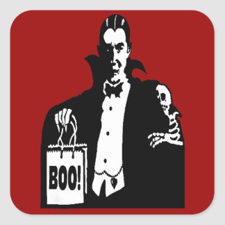 Old Time Vampire Trick-or-Treater Square Sticker