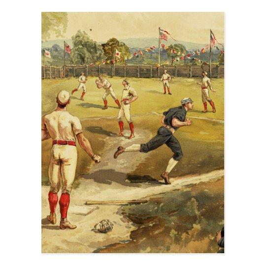 Old Time Vintage Baseball Game in 1887 Postcard