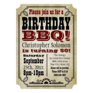 Old-Time Vintage Country Birthday BBQ Party 5x7 Paper Invitation Card