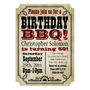 Old Time Vintage Country Birthday BBQ Party Invitation