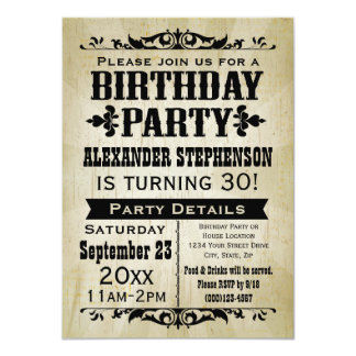 Old-Time Vintage Country Birthday Party Invitation