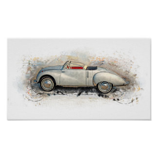 Old timer, car, convertible - water color, design poster