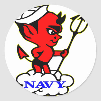 Old Timer Navy Red Devil Classic Round Sticker