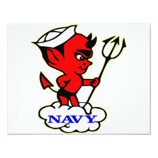 Old Timer Navy Red Devil 4.25x5.5 Paper Invitation Card