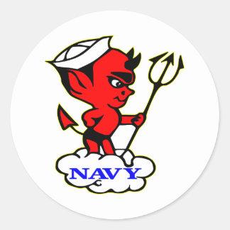 Old Timer Navy Red Devil Round Sticker