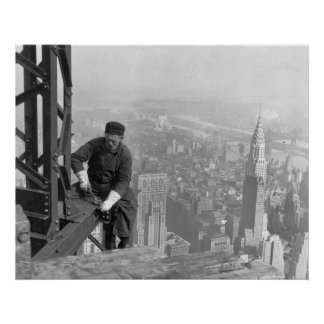 Old Timer Steel Worker on Empire State Building Poster