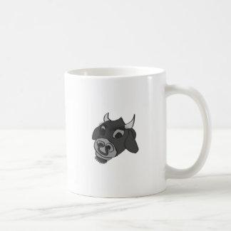 old timey black and white cow coffee mug