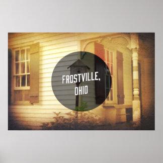 Old-timey farmhouse w/birdhouse - Frostville, Ohio Poster