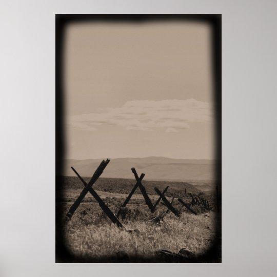 Old Timey Fenceline - B&W Poster
