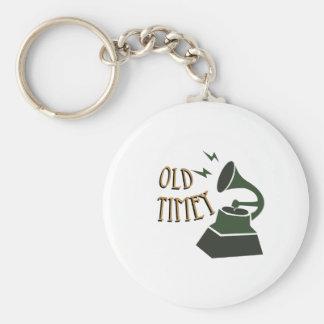 Old Timey Basic Round Button Keychain