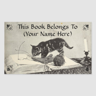 Old Timey Kitten Cat Knitting Book Plate