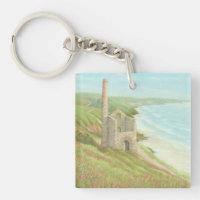 Old Tin Mine, Coast Path Cornwall Acrylic Key Ring