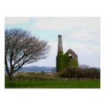 Old tin mine ruins in Cornwall Poster