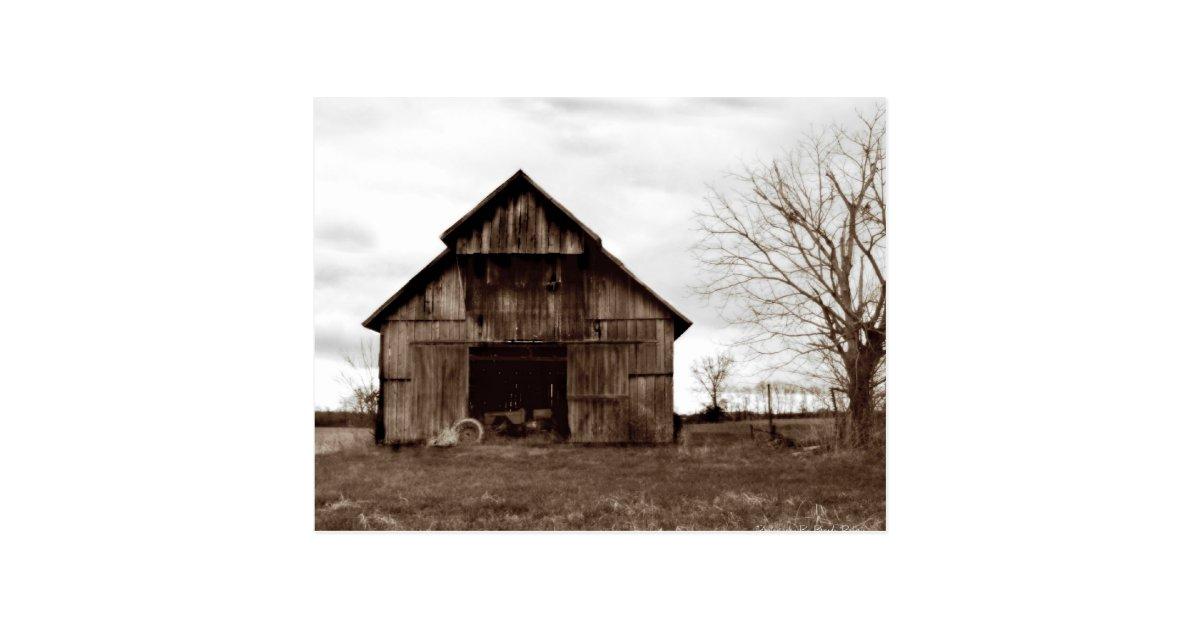 Old tobacco farm barn postcard zazzle for Tobacco barn house plans