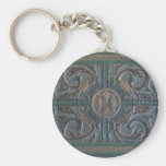 Old Tooled Leather Journal Basic Round Button Keychain