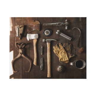 Old Tools on Wood Background Canvas Wrap