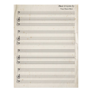 Old Torn Edges Blank Sheet Music Bass Clef Letterhead