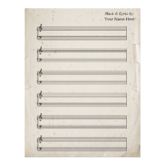 Old Torn Page Blank Sheet Music  Piano Staves Letterhead