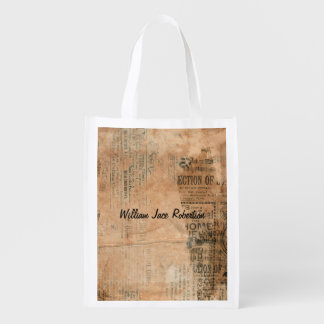 Old Torn Vintage Newspaper One Personalized Reusable Grocery Bag