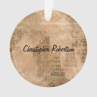 Old Torn Vintage Newspaper Two Personalized Ornament