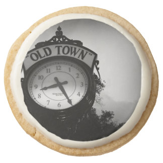 Old Town Clock Round Shortbread Cookie