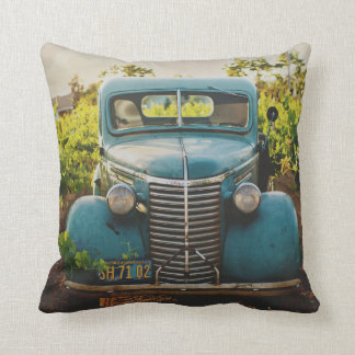Old Town Country Vintage Automobile Rustic Blue Throw Pillow