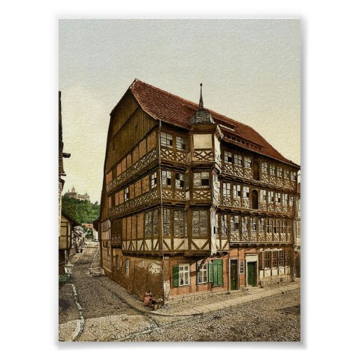 Old town hall and castle, Wernigerode, Hartz, Germ Poster
