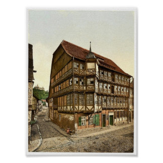 Old town hall and castle, Wernigerode, Hartz, Germ Print