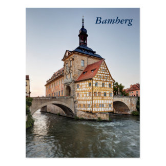 Old Town Hall and the Obere Bridge in Bamberg Postcard