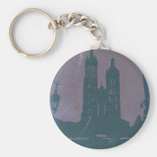 Old town Krakow Poland Basic Round Button Keychain