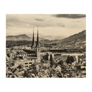 Old town lucerne switzerland photo from above wood wall art