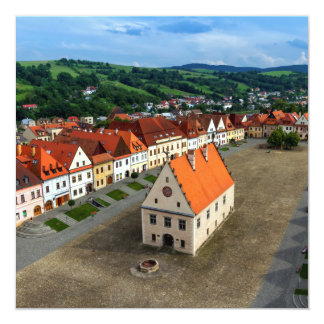 Old town square in Bardejov by day, Slovakia Card