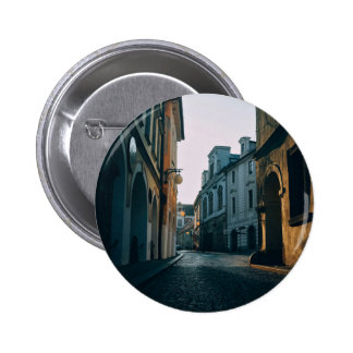 Old town street with buildings 2 inch round button