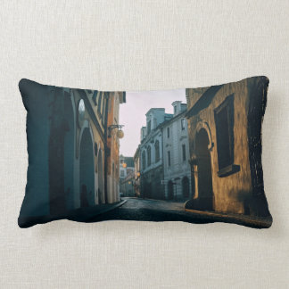 Old town street with buildings throw pillows