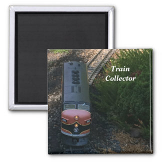 Old Toy Train on Tracks 2 Inch Square Magnet