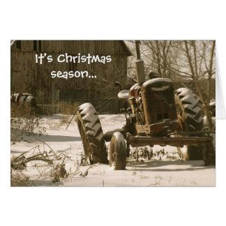 Old Tractor Christmas Card: Xmas Season Greeting Card