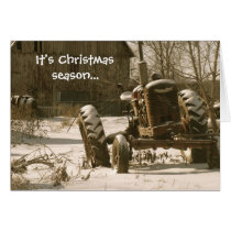 Old Tractor Christmas Card: Xmas Season Card