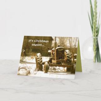 Old Tractor Christmas Card: Xmas Season Holiday Card