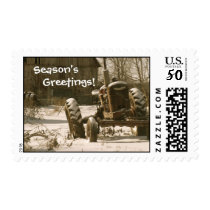 Old Tractor Christmas Postage Stamp