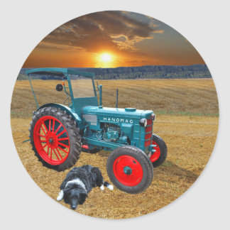 Old tractor classic round sticker